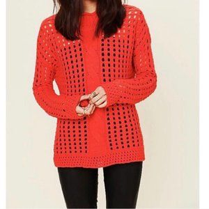 Free People Orange Open Stitch Cable Knit Sweater